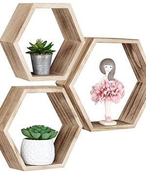 Hexagonal Floating Shelves Wall Mounted Set Of 3 Wood Farmhouse Storage Honeycomb Wall Shelf For Bathroom Kitchen Bedroom Living Room OfficeDriftwood Finish 0 300x360