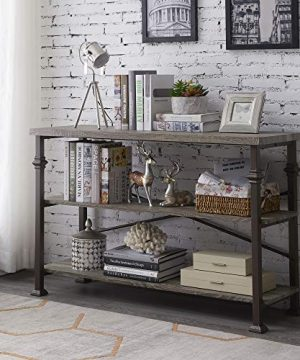 Hombazaar 3 Tier Console Sofa Table Industrial Rustic Entryway Table With Storage Shelf For Living Room Hallway Grey Oak Finish 47 Inch Long 0 300x360