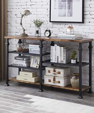 Hombazaar Industrial Sofa Table 3 Tier Vintage Long ConsoleEntry Table With Storage Shelf For Entryway Hallway Living Room Retro Brown 0 300x360