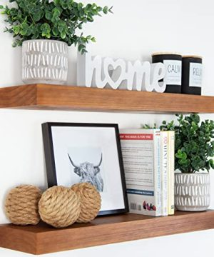 Homeforia Rustic Farmhouse Floating Shelves Bathroom Wooden Shelves For Wall Mounted Thick Industrial Kitchen Wood Shelf 24 X 65 X 175 Inch Set Of 2 Honey Oak Color 0 300x360