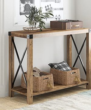 Hoomic Farmhouse Entry Table With Open Storage Shelf And X Shaped Metal Support Simple Console Table For Entryway Hallway Living Room Rustic Oak 0 300x360
