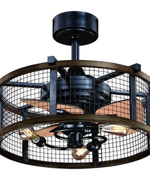 Humboldt Bronze And Teak Industrial Farmhouse Cage Ceiling Fan With LED Light Kit And Remote 0 300x360