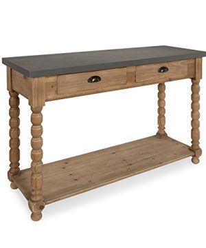 Kate And Laurel Rutledge Farmhouse Chic Two Drawer Console Table Rustic Wood Base And Concrete Gray Top 0 300x360