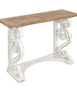 Kate And Laurel Wyldwood Country French Solid Wood Console Table RusticWhite Legs Natural Wood Top 0 300x360