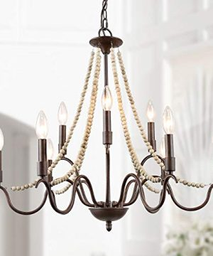 LALUZ Farmhouse Chandelier For Dining Room 9 Light Rustic Chandelier With Wood Bead Strings Bronze Metal Arms 28 L X 255 H 0 300x360