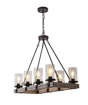 LIANSHUN 8 Lights Farmhouse Island Light For Kitchen Vintage Wood Chandelier For Dining Room Hanging Lighting With Seeded Glass Shade 480W Max E26 Bulb Not Included 0 300x360