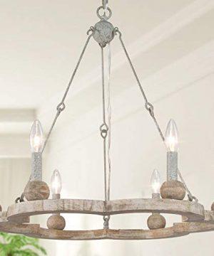 LOG BARN Farmhouse Chandelier For Dining Room Wagon Wheel Chandelier Light Fixture 6 Light 235 Dia 0 300x360