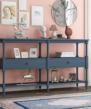 LZ LEISURE ZONE Console Table Rustic Sofa Table With 3 Tier Open Storage Shelf And 2 Drawers Buffets Sideboards For Living Room Hallway Dining Room Navy Blue 0 300x360