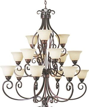 Maxim 12209FIOI Manor Frosted Ivory Glass Bowl Large Chandelier 15 Light 900 Total Watts 48H X 45W Oil Rubbed Bronze 0 300x360