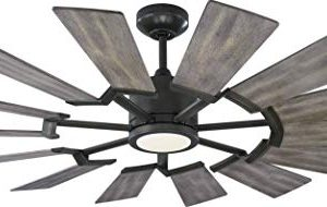 Monte Carlo 14PRR52AGPD Prairie II Windmill Energy Star 52 Outdoor Ceiling Fan With LED Light And Hand Remote Control 14 Wood Blades Aged Pewter 0 300x190