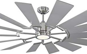 Monte Carlo 14PRR62BSD Prairie Windmill Energy Star 62 Outdoor Ceiling Fan With LED Light And Hand Remote Control 14 Wood Blades Brushed Steel 0 300x186