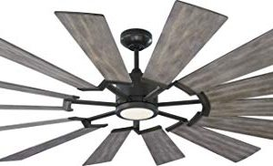 Monte Carlo Fans 14PRR72AGPD Prairie Grand Windmill Energy Star 72 Outdoor Ceiling Fan With LED Light And Hand Remote Control 14 Wood Blades Aged Pewter Light Grey Weathered Oak Blades 0 300x182