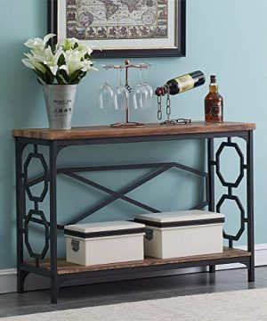OK Furniture Entryway Table With Storage Shelf Rustic Narrow Sofa Console Table For Living Room Hallway Brown Finish 0 300x360
