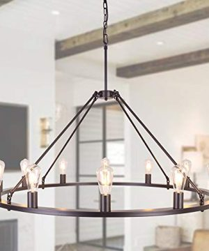 OSAIRUOS W47 Vintage Rustic Rod Iron Chandelier Farmhouse Wagon Wheel Chandeliers Lighting Fixture Industrial Large Round Island 12 Lights For Living Room Hotel Church Cafe Shops Bronze 0 300x360