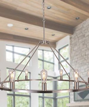 OSAIRUOS W47 Vintage Rustic Rod Iron Chandelier Farmhouse Wagon Wheel Chandeliers Lighting Fixture Industrial Large Round Light For Living Room Hotel Church Cafe Shops Nickel 0 300x360