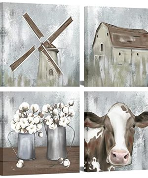 OuElegent 4 Piece Farmhouse Canvas Wall Art Rustic Cow Dutch Windmill Cotton Flower Picture Artwork Modern Countryside Printed Painting For Living Room Kitchen Decor Framed Ready To Hang 12x12 Inch 0 300x360
