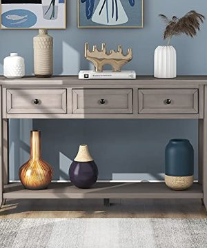 P PURLOVE 55 Long Console Table Sofa Table With 3 Drawer And Bottom Shelf Entryway Table For Entryway HallwayLiving Room 0 300x360