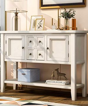 P PURLOVE Console Table Buffet Sideboard Sofa Table With Storage Drawers Cabinets And Bottom Shelf White 0 300x360