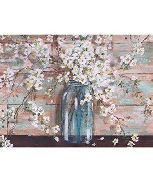 Patton Wall Decor Blooms In Mason Jar Floral Art 24 X 36 Wrapped Canvas 24 X 36 Inch Light Blue 0 300x360