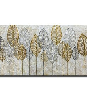 Paviliart Canvas Wall Art Golden Gleaming Leaves 24x 48 Inch100 Hand Painted Oil Painting Art Decoration Ready To Hang In Living Room 0 300x360