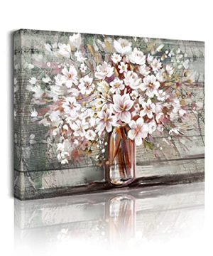 Pink Flower Wall Art Canvas Farmhouse Bloom Picture White Blossoms Floral Artwork Ready To Hang For Bathroom Living Room Kitchen Bedroom Girls Room Artwork Decor 12x16 Inch 0 300x360