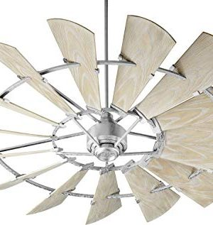 Quorum 197215 9 Windmill Ceiling Fan In Galvanized With UL Damp Weathered Oak Aluminum Blades 0 300x317