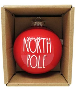 RAE DUNN BY MAGENTA North Pole Red Ceramic LL Round Bulb Christmas Tree Ornament With White Letters 2019 Limited Edition 0 300x360