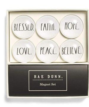 Rae Dunn 6 Piece Glass Dome Magnet Set Blessed Faith Hope Love Peace Believe 0 300x360