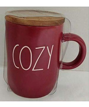 Rae Dunn Artisan Collection By Magenta Cozy Burgundy Maroon Coffee Tea Mug With Wood Coaster LL 0 300x360