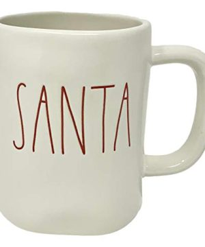 Rae Dunn BY MAGENTA Christmas Mug Artisan Collection White Ceramic Rae Dunn Mug With Santa Spelled In Red Letters Great For Sipping Your Favorite Christmas Morning Drink Like Coffee Or Tea 0 300x360