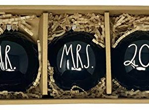 Rae Dunn Black Mr And Mrs 2019 Christmas Ornaments Artisan Collection By Magenta Christmas Ornaments Beautiful Black With White Letters Ceramic Christmas Tree OrnamentsBulbs 0 300x221