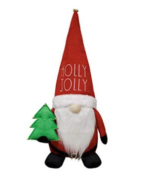 Rae Dunn Christmas Gnome Holly Jolly 19 Inch Stuffed Plush Santa Figurine Doll With Felt Hat Cute Ornaments And Holiday Decorations For Home Decor And Office 0 300x360