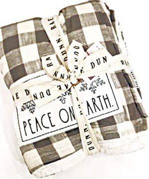 Rae Dunn Christmas Holiday Buffalo Plaid Sherpa Fleece Throw Blanket In Gray White Inscribed Peace ON Earth 50 X 60 0 300x360