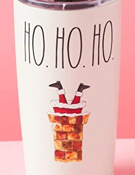 Rae Dunn Christmas Holiday Cream 17oz Tall Tumbler For Coffee Tea Latte Double Wall Insulation Stainless Steel Hot Or Cold Great Christmas Gift Ho Ho Ho Chimney 0 277x360