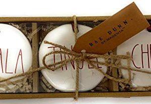 Rae Dunn Christmas Holiday Ornaments Set Of 3 FA La La Jingle Cheer 0 300x208