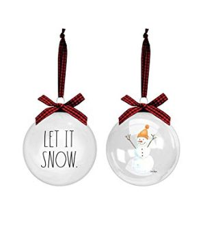 Rae Dunn Christmas Ornaments Set Of 2 Glass Balls 100mm 394 Inch Large Hanging Holiday Decorations For Xmas Tree Let It Snow 0 300x360