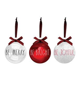 Rae Dunn Christmas Ornaments Set Of 3 Red And Clear Glass Balls Be Merry Be Bright Be Joyful 100mm 394 Inch Large Hanging Holiday Decorations For Xmas Tree 0 300x360