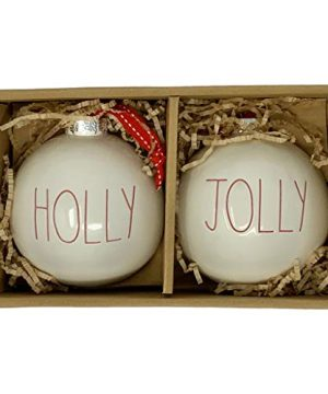 Rae Dunn Holly Jolly Christmas Ornaments Artisan Collection By Magenta 2 Gorgeous White Christmas OrnamentsBulbs With Large Red LL Letters Perfect For Adding More Christmas Cheer 0 300x360