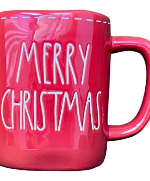 Rae Dunn MERRY CHRISTMAS With White Stitching Design Detail Red Christmas Holiday Coffee Tea Mug Artisan Collection By Magenta LL 0 300x360