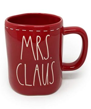 Rae Dunn Mrs Claus With White Stitching Design Detail Red Christmas Holiday Coffee Tea Mug Artisan Collection By Magenta LL 0 300x360