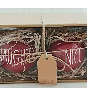 Rae Dunn Naughty And Nice Solid Red Round Ceramic Christmas Ornaments LL Set Of 2 0 300x334