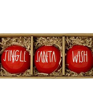 Rae Dunn Red Christmas Ornaments Jingle Santa Wish Artisan Collection By Magenta 3 Beautiful Ornaments With Large LL Letters That Will Make Your Christmas Tree A Delight 0 300x360