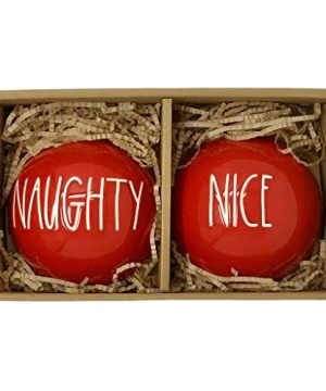 Rae Dunn Red Naughty Or Nice Christmas Ornament Set Artisan Collection By Magenta 2 Pack 1 Red Naughty Ornament And 1 Red Nice Ornament Which One Are You 0 300x360