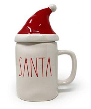 Rae Dunn Santa Hat Mug Topper Christmas Holiday Coffee Tea Mug Artisan Collection By Magenta LL 2 Piece Set 0 300x360