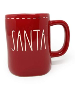 Rae Dunn Santa With White Stitching Design Detail Red Christmas Holiday Coffee Tea Mug Artisan Collection By Magenta LL 0 300x360