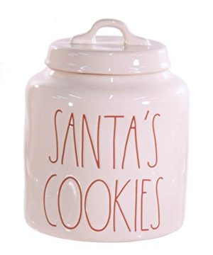 Rae Dunn Santas Cookies Canister White With Red Letters Large Letter Christmas LL 0 300x360