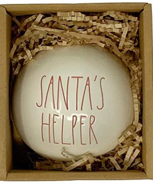 Rae Dunn Santas Helper Christmas Ornament Artisan Collection By Magenta A Gorgeous White Christmas Ornament Bulb With Large Red LL Letters Perfect For Santas Helper In Your Life 0 300x360