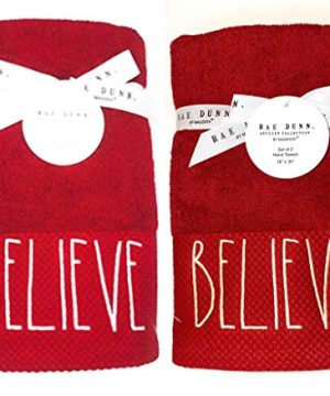 Rae Dunn Set Of 2 Embroidered Believe Red Hand Towels For Christmas Bathroom Decor Christmas Hand Towels Christmas Decorations 0 300x360