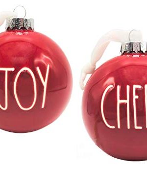 Rae Dunn Set Of 2 Red Ball Christmas Ornaments Joy Cheer Ceramic Holiday Ornaments For Christmas Tree With White Hanging Ribbon 0 300x348