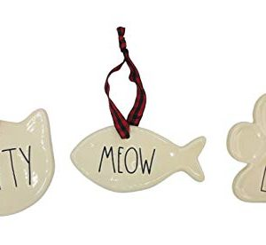 Rae Dunn Set Of 3 Cat Christmas Ornaments Kitty Meow Love Ceramic Holiday Ornaments For Christmas Tree With Red Plaid Hanging Ribbon 0 300x276